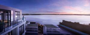 Rendering of Empire Quay House Condos suite terrace with sun setting.