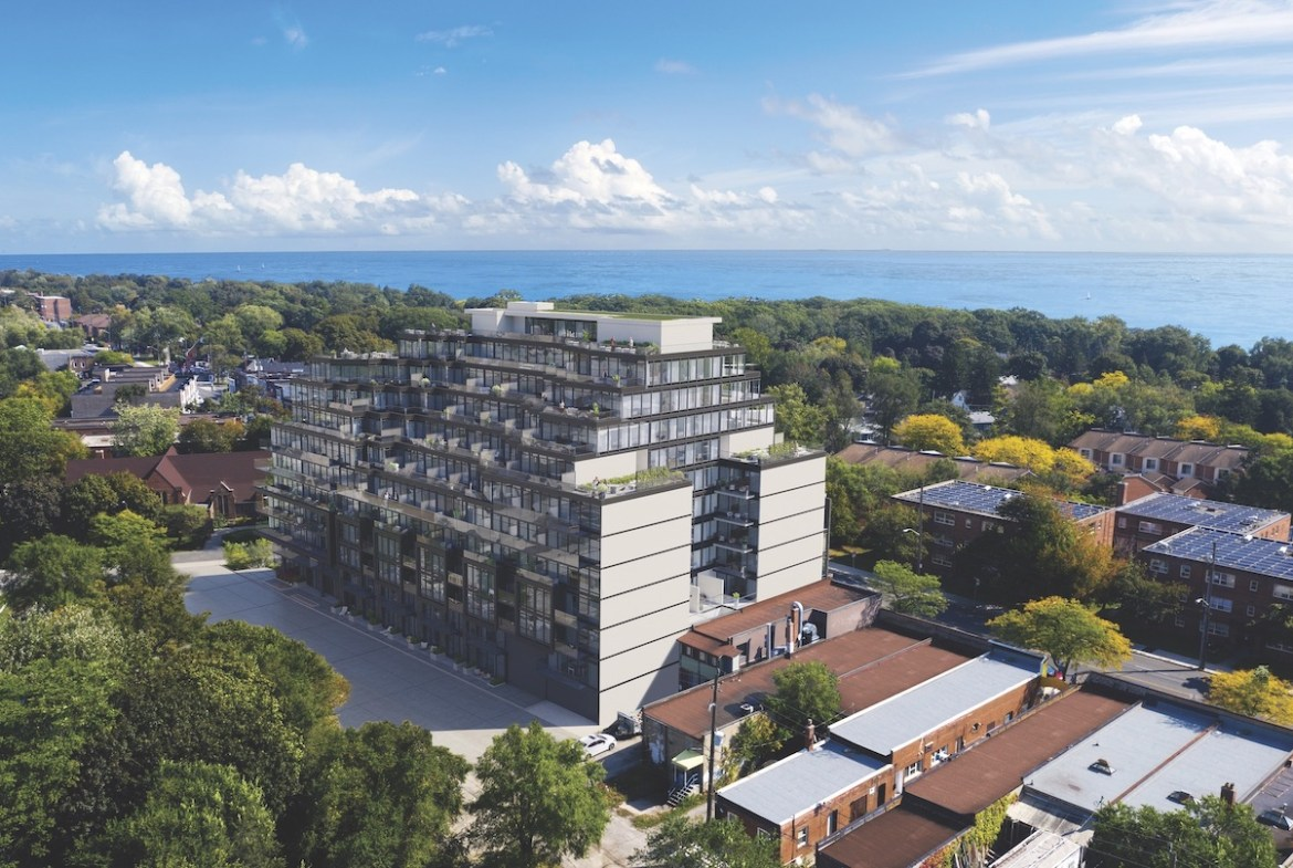 Rendering of The Manderley Condos exterior aerial view with lake.