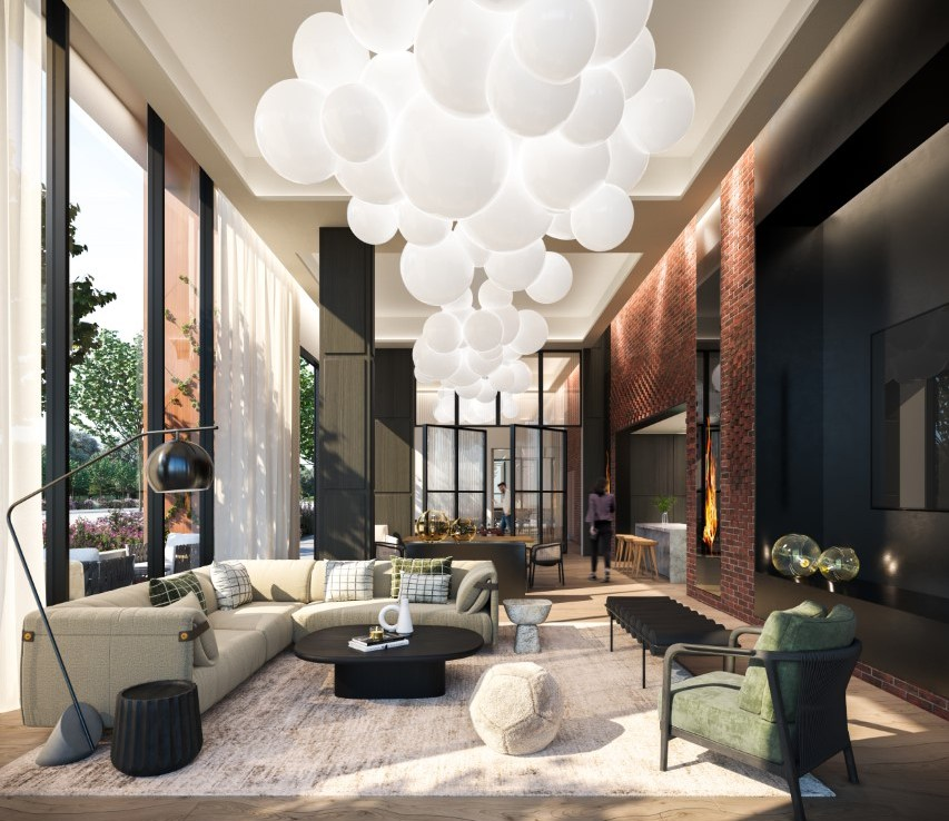 Rendering of Upper West Side Condos interior coworking space.