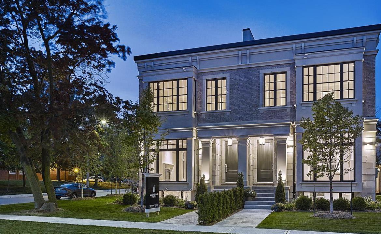 Exterior rendering for Elmwood Homes.