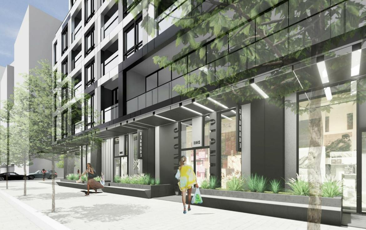 Retail and Street-view rendering of Empire Quay House Condos in Toronto