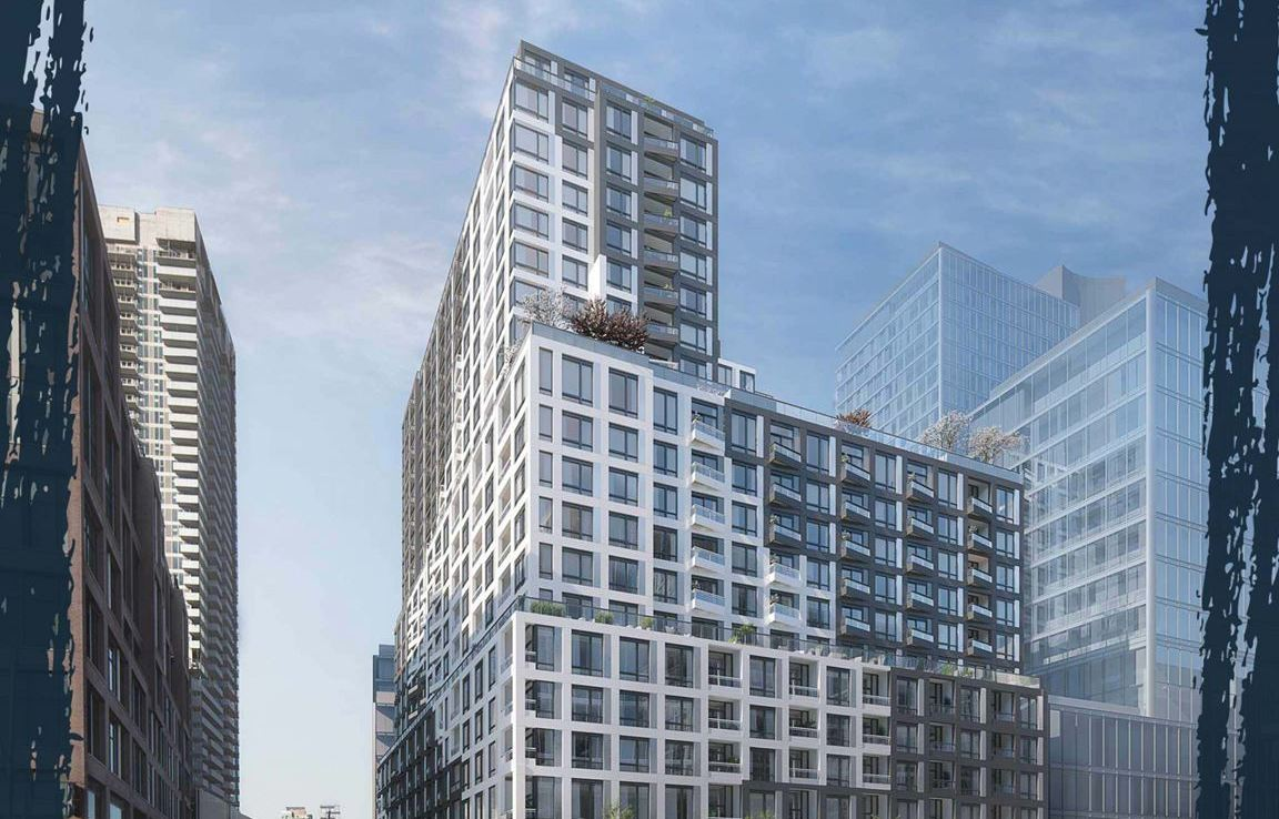 Rendering of Empire Quay House Condos during the day.