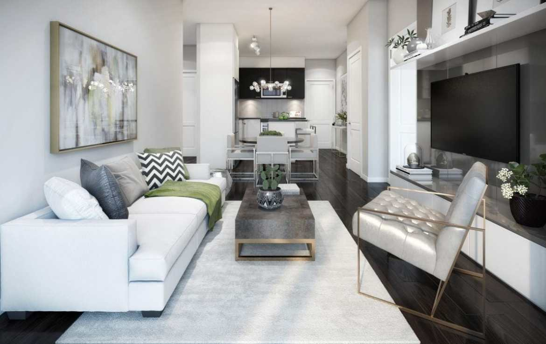 Living room rendering of GO.2 Condos.