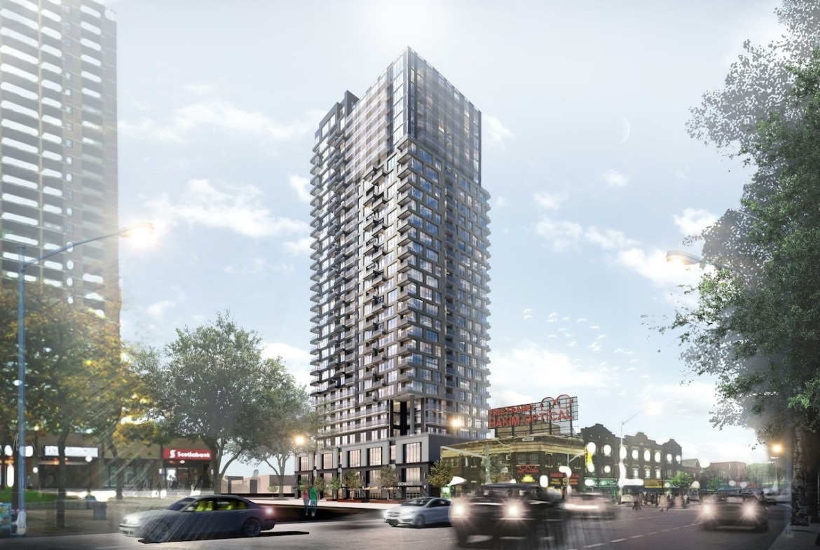 Rendering of Linx Condos exterior full view during the day.
