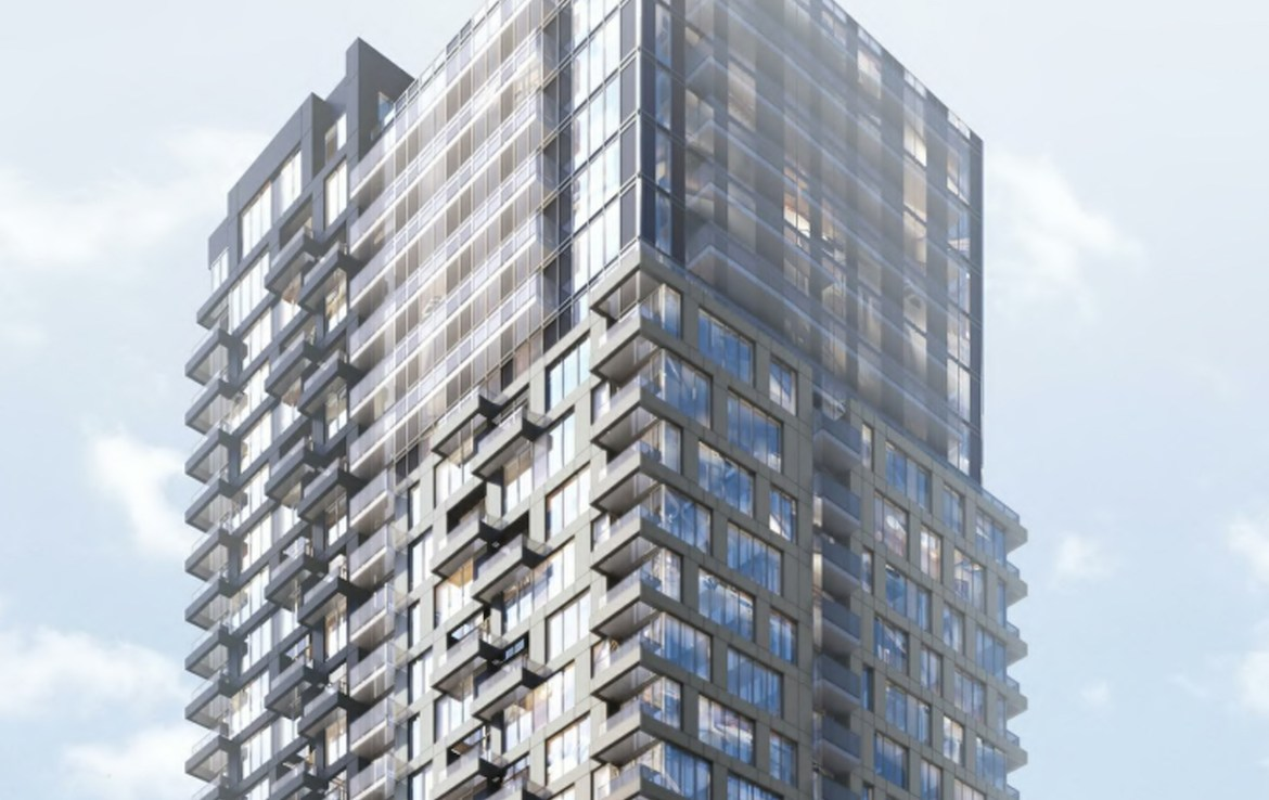 Rendering of Linx Condos partial exterior view building top.