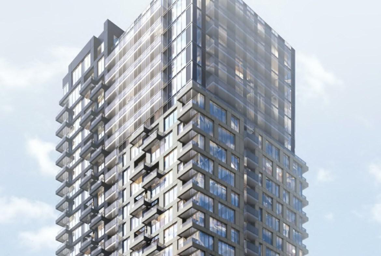 Rendering of Linx Condos partial exterior view building top.