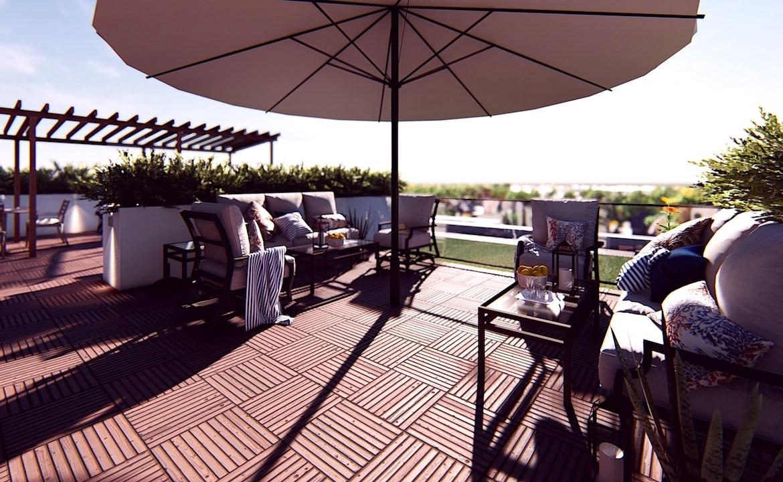 Terrace seating rendering of Nahid on Broadview.