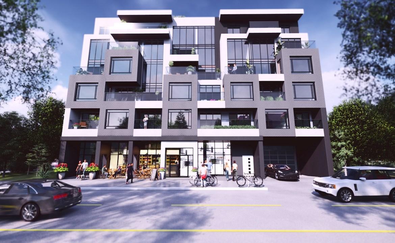 Street-view exterior rendering of Nahid on Broadview