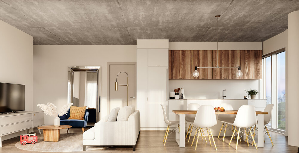Rendering of Reina Condos suite interior.