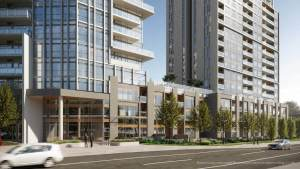 Rendering of Connectt Condos building exterior with streetscape.