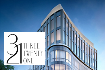 Exterior rendering of 321 Davenport Condos with logo overlay.
