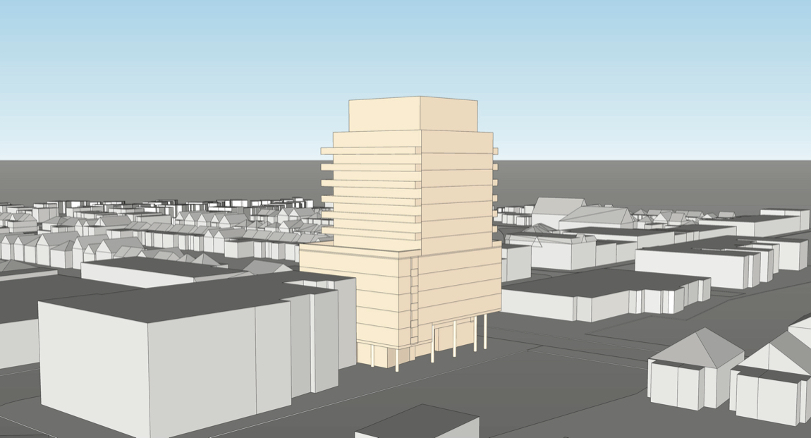 Exterior rendering of 2128 Yonge Street Condos view looking Southeast.