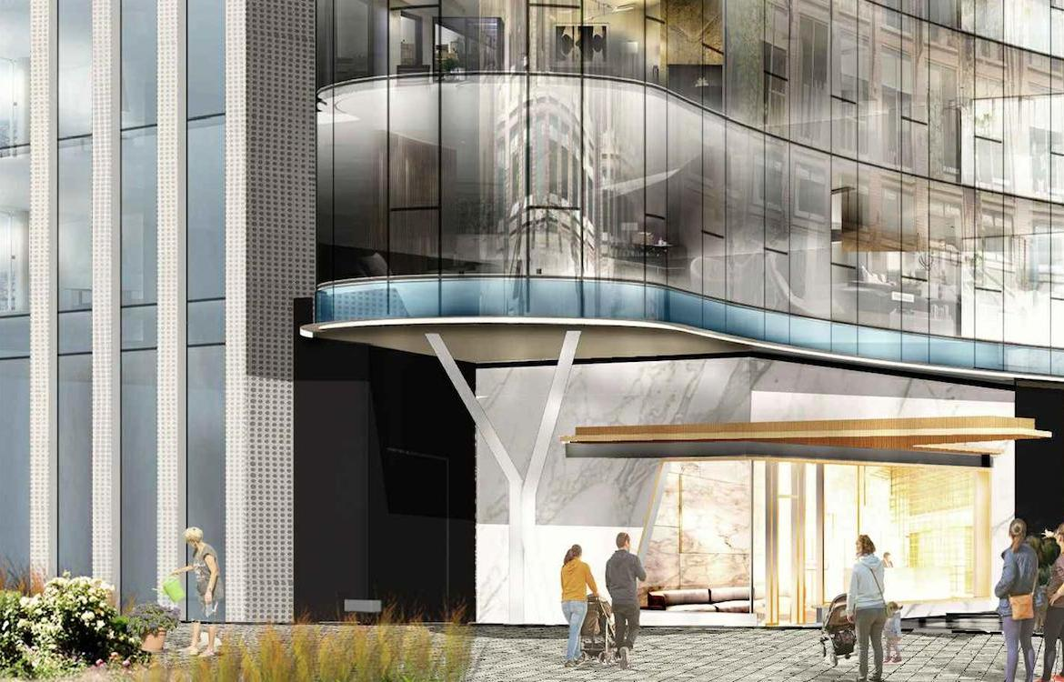 Exterior entrance rendering of 321 Davenport Condos.