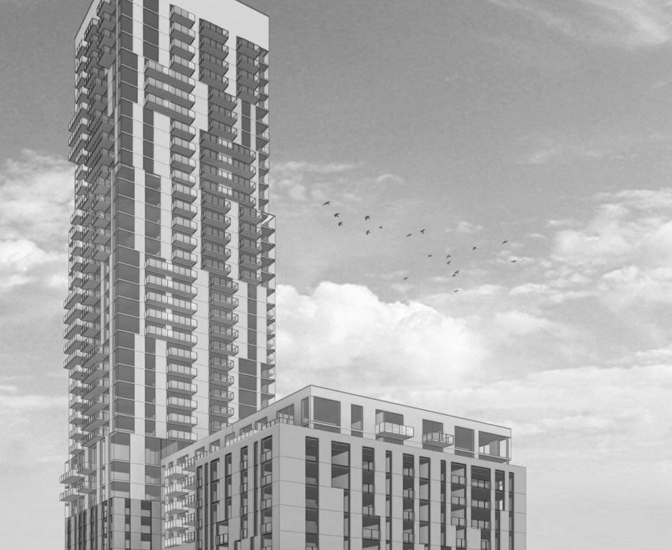 Full exterior rendering of 7 Labatt Ave Condos.