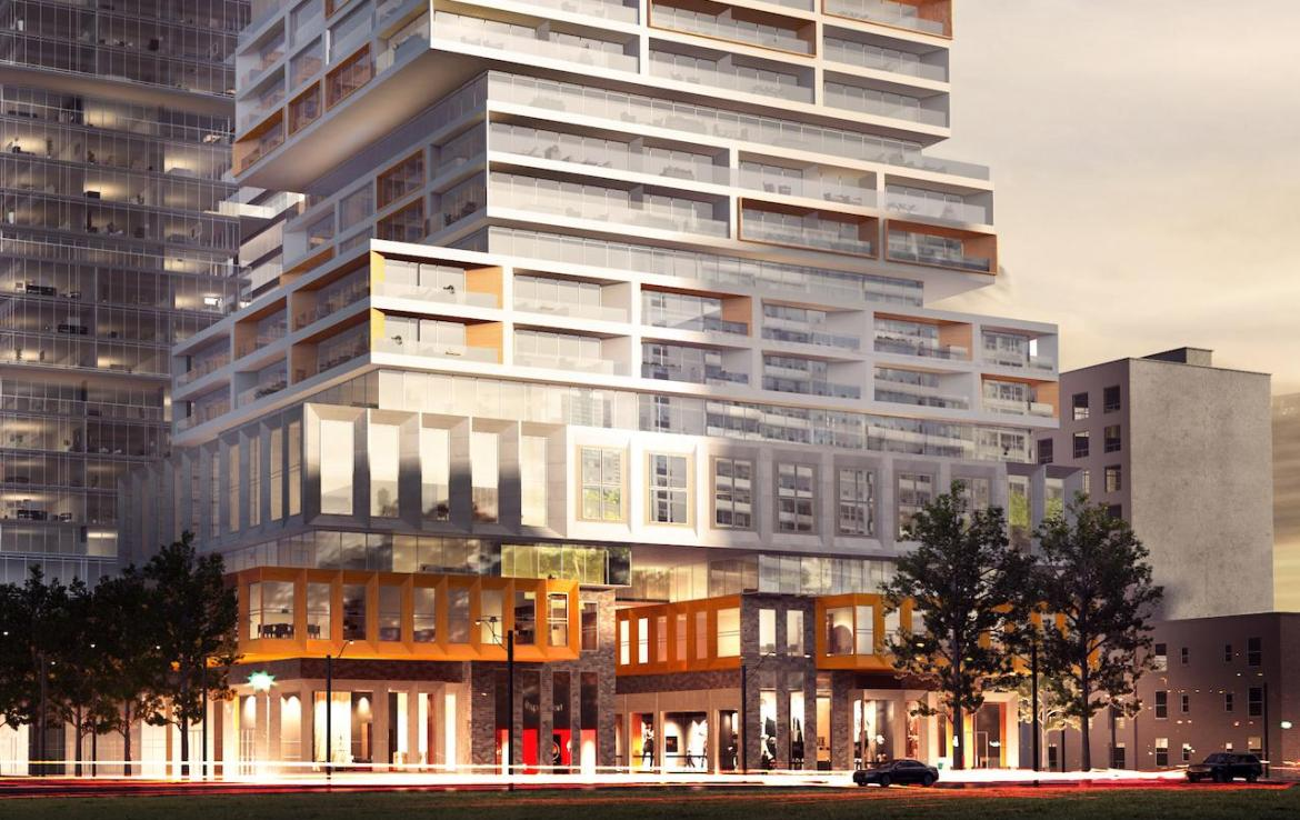 Partial exterior rendering of 88 East Condos in the evening.