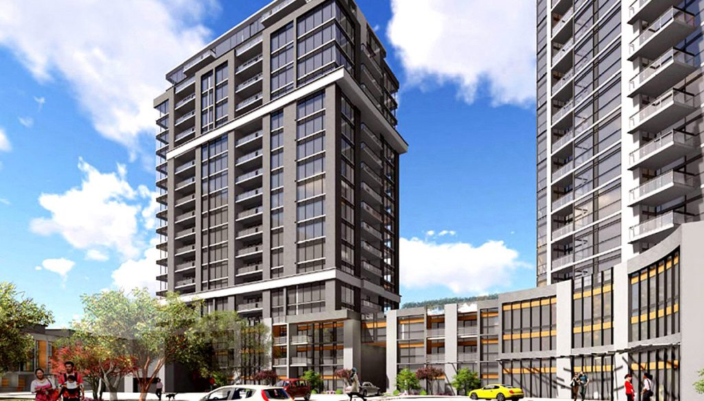 Exterior rendering of Connectt Milton Condos and Townhouse single tower and street-level retail.