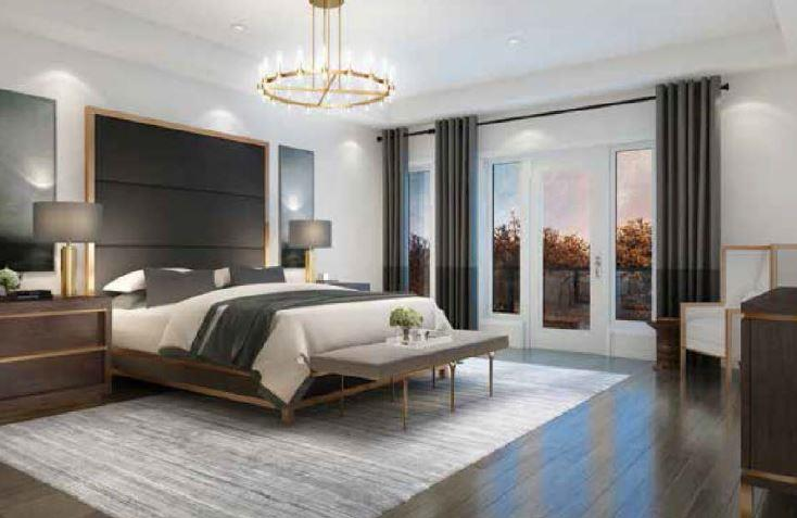 Interior rendering of The Riverside Residences bedroom.