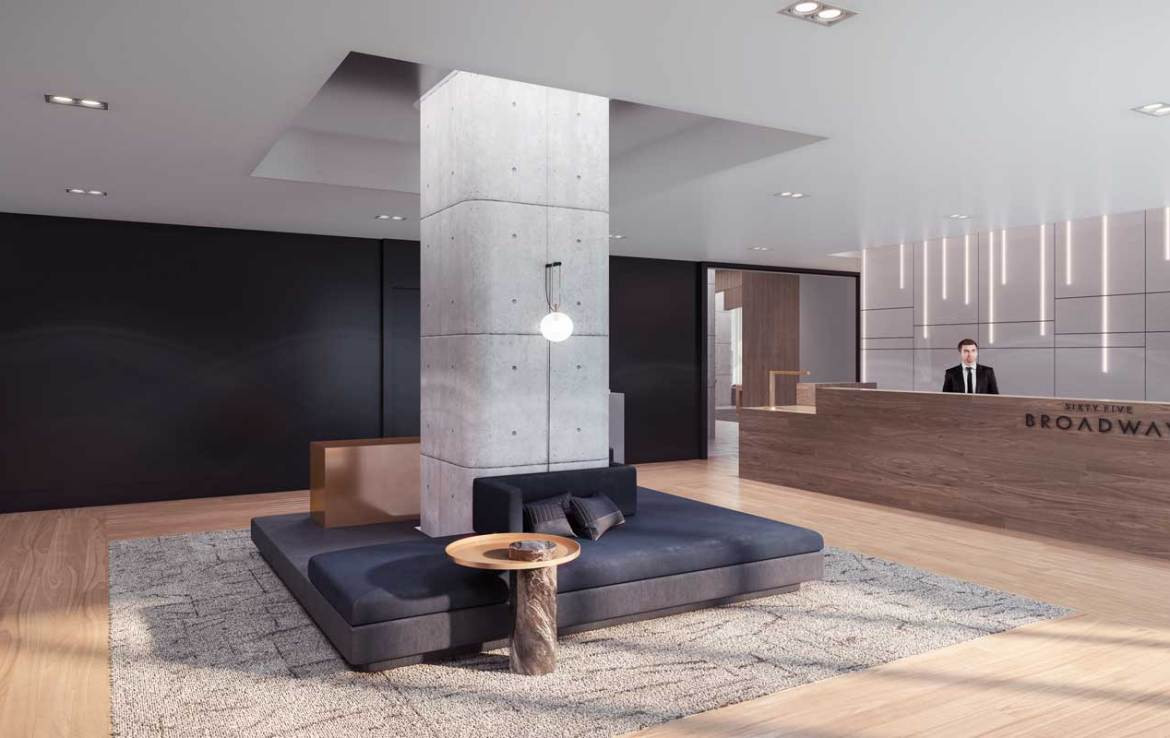 Lobby rendering of Sixty-Five Broadway Condos.