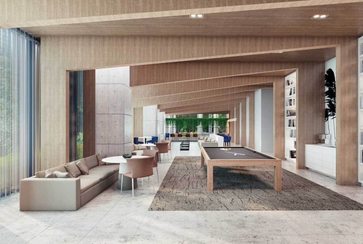 Party room rendering of Sixty-Five Broadway Condos.