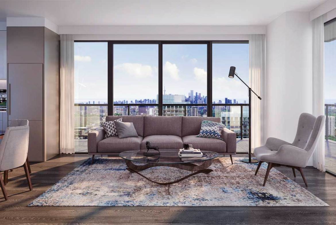 Suite living room rendering of Sixty-Five Broadway Condos.