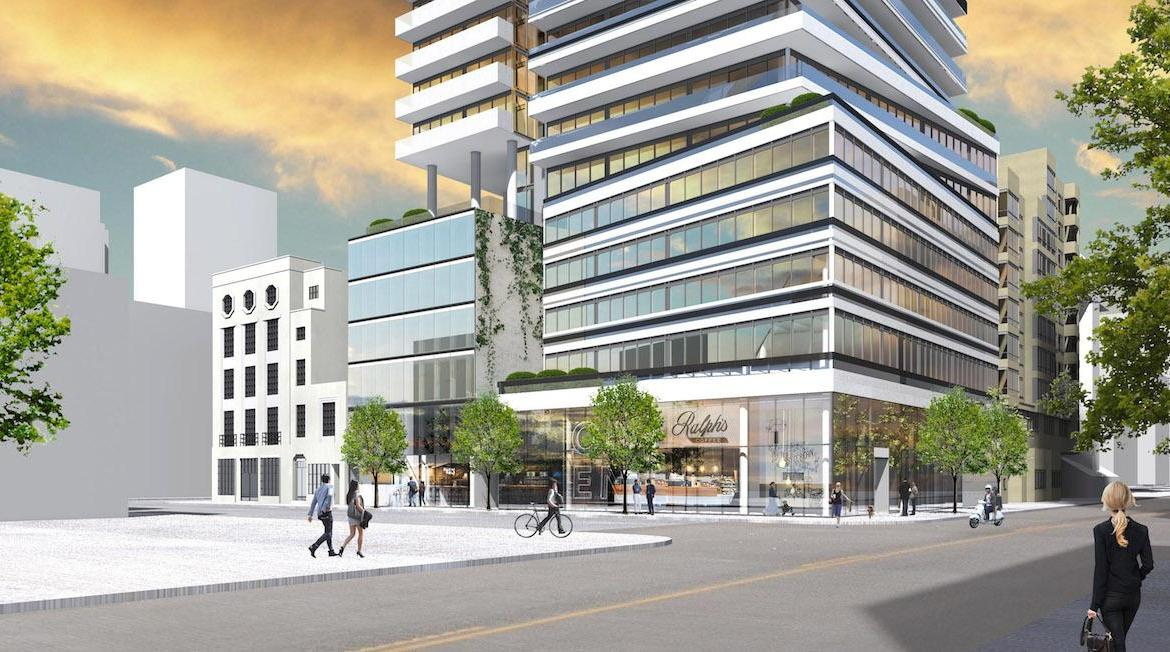 Street-view side-facing rendering of The Saint Condos.