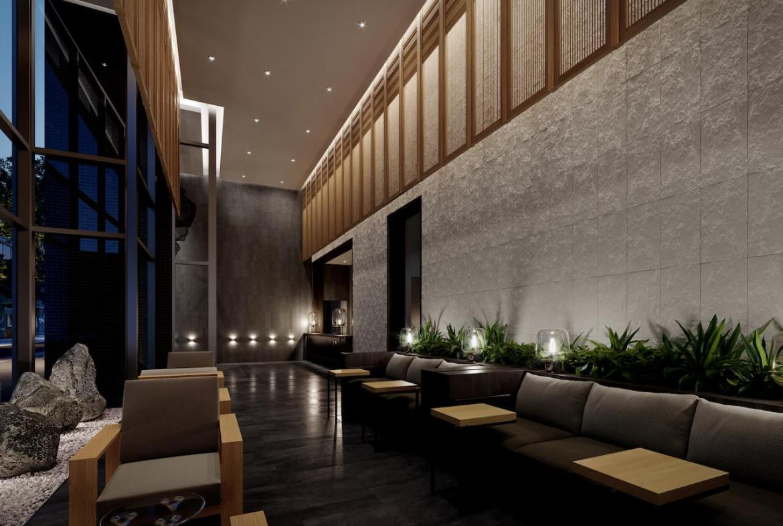 The Saint Condos interior lobby at night