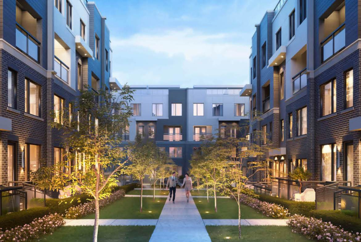 Rendering of The Way Towns 2 courtyard in the evening.