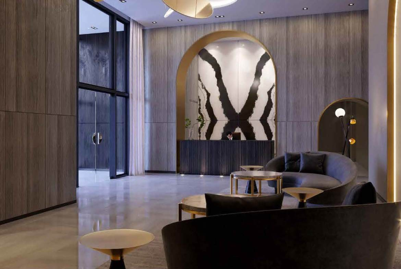 Rendering of Universal City 3 Condos lobby.