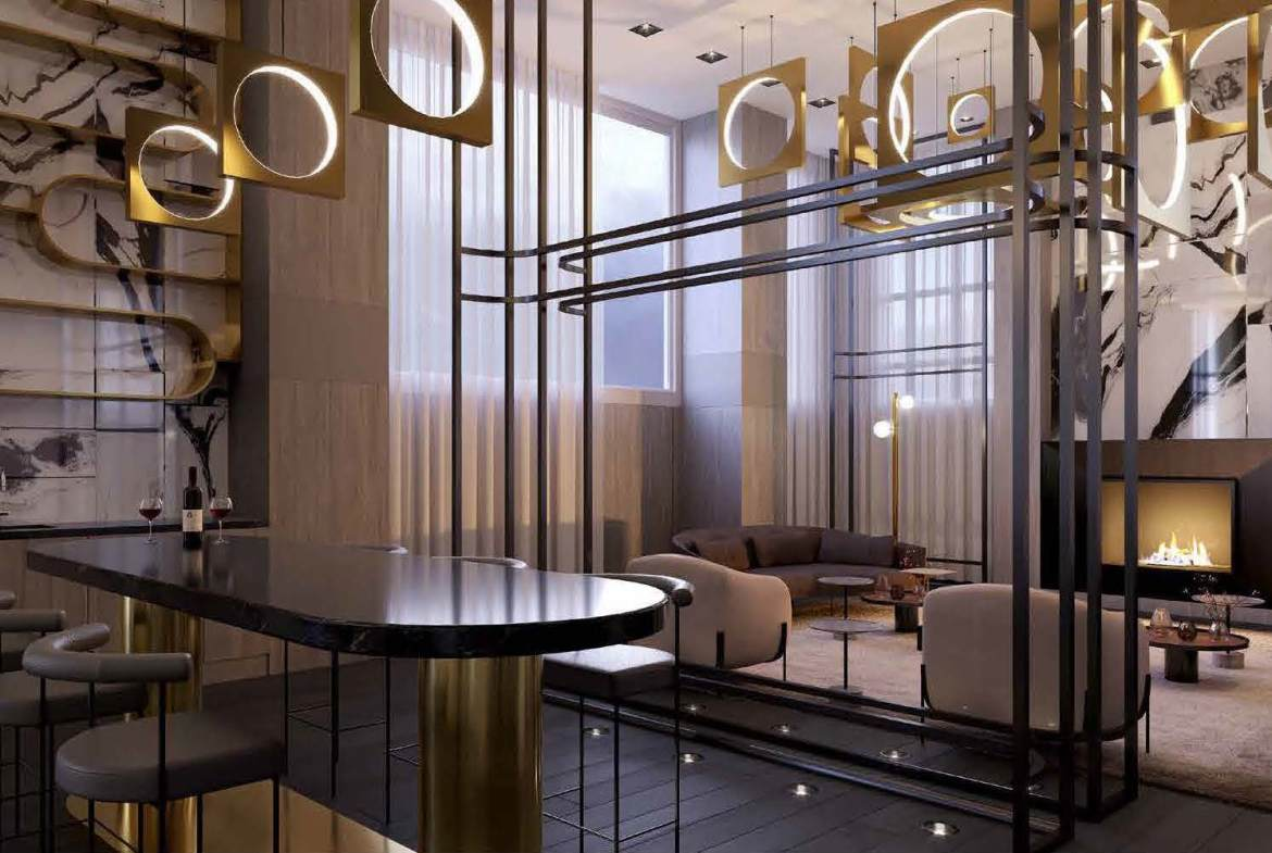 Rendering of Universal City 3 Condos party room.