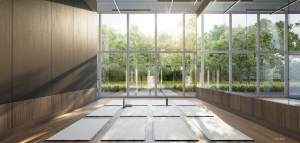 Rendering of Universal City 3 Condos yoga studio.