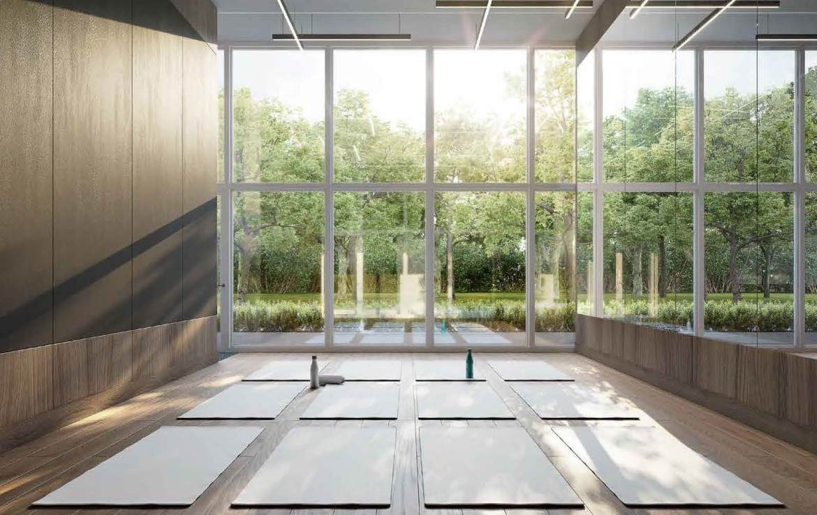 Rendering of Universal City 3 Condos yoga studio.