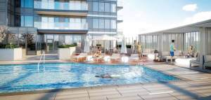 Rendering of Universal City 3 Condos outdoor swimming pool.