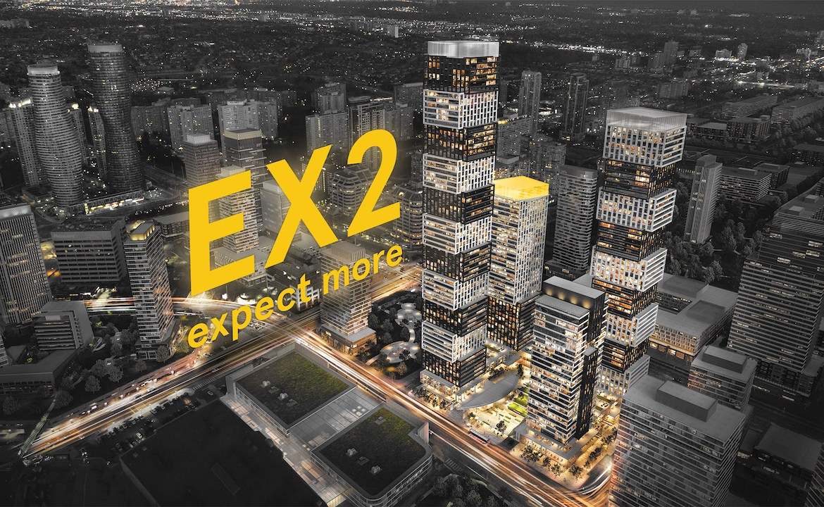 Rendering of EX2 Condos community with text overlay in yellow.