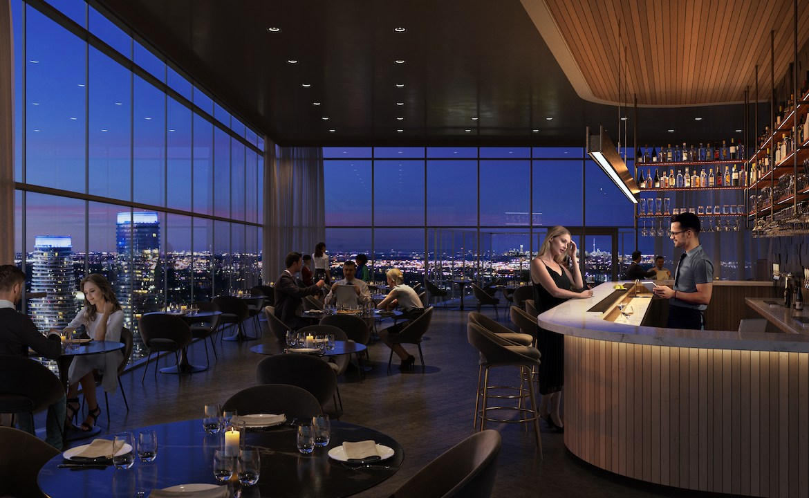 Rendering of EX2 Condos sky restaurant.