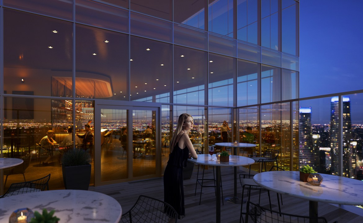 Rendering of EX2 Condos sky restaurant terrace.