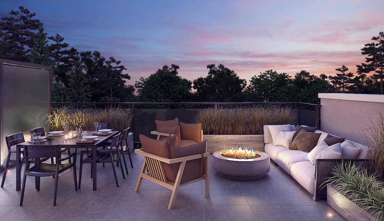 Rendering of 20Twenty Towns suite terrace at dusk.