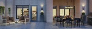 Rendering of 20Twenty Towns suite patio area with ample seating and dining space.