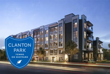 Exterior rendering of Clanton Park Towns with logo overlay.