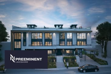Exterior rendering of Preeminent Lakeshore with logo overlay.