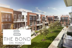 Exterior rendering of The Bond towns courtyard with logo overlay.
