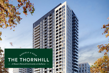 Exterior rendering of The Thornhill Condos with logo overlay.