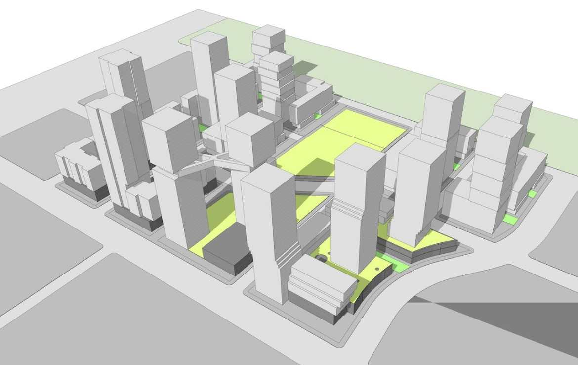 Simple rendering of 1900 Eglinton East community of condos and towns.