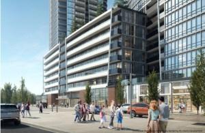 Rendering of Promenade Park Towers outdoor retail with people walking around.