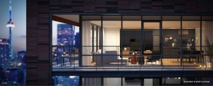 Exterior suite windows rendering of No. 31 Parliament Condos.