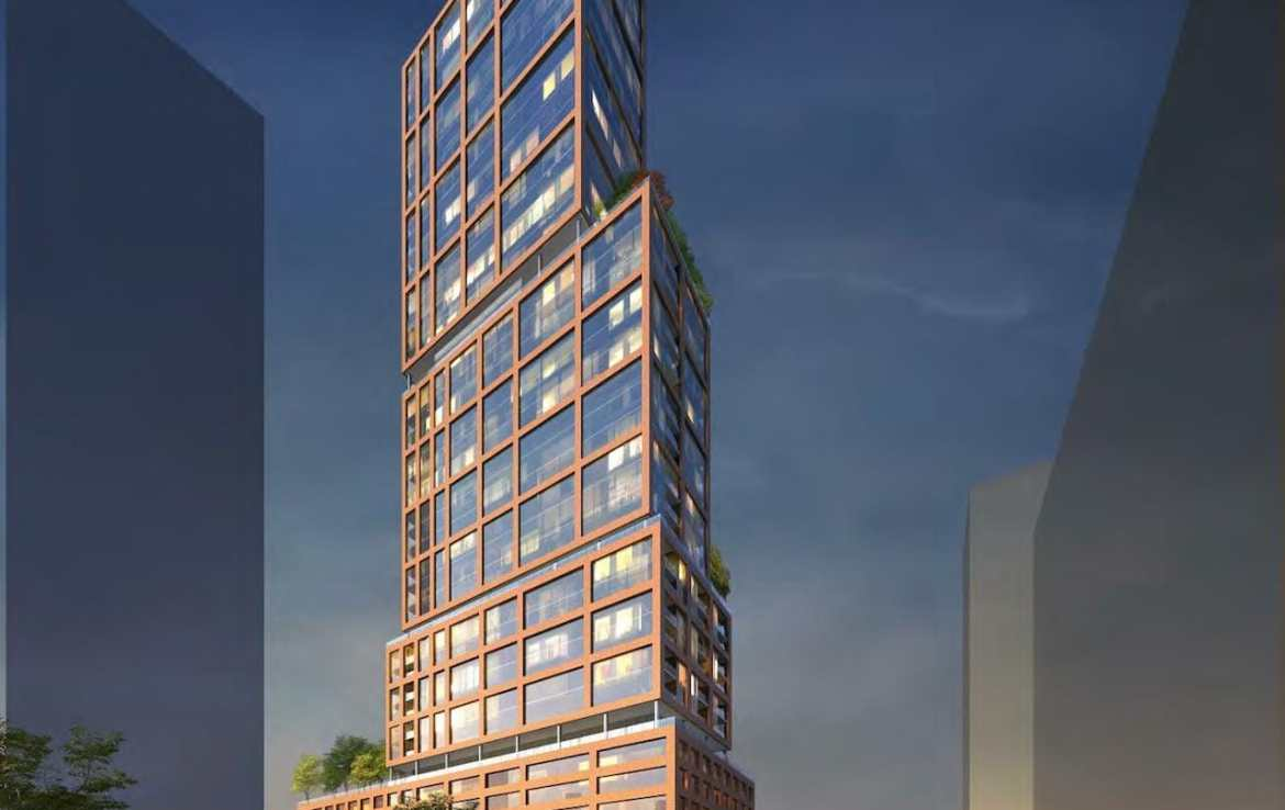 No. 31 Parliament Condos full exterior rendering at dusk.