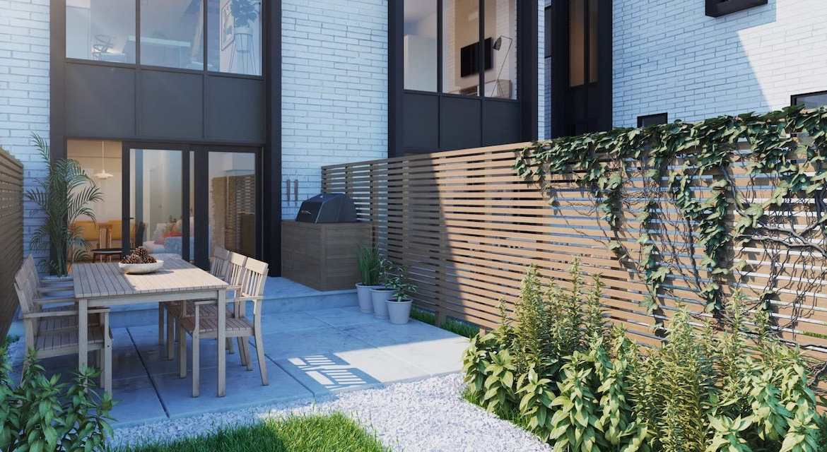Exterior patio rendering of Preeminent Lakeshore townhouses.