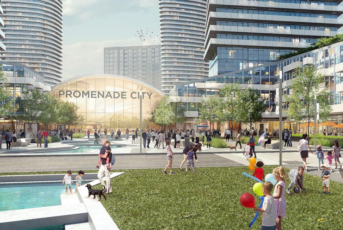 Exterior rendering of Promenade Park Towers outdoor play area.