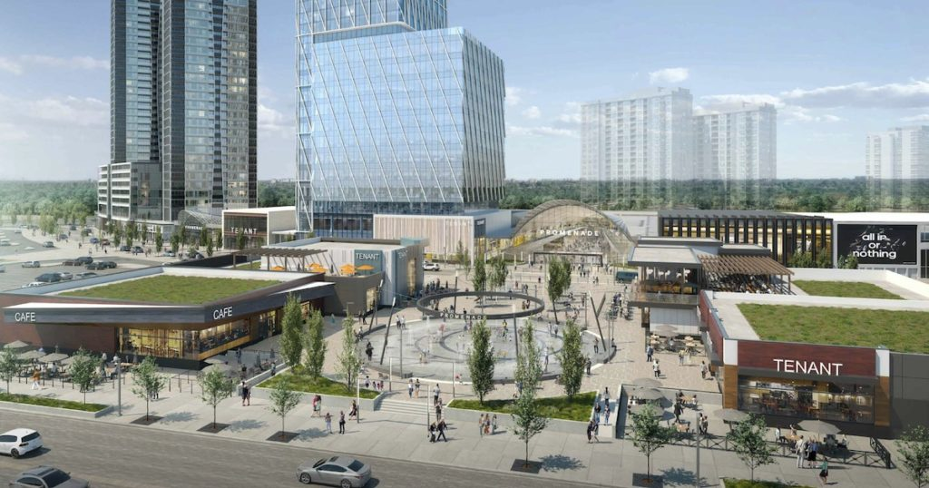 Exterior rendering of Promenade Park Towers revitalized Promenade Mall water fountain.