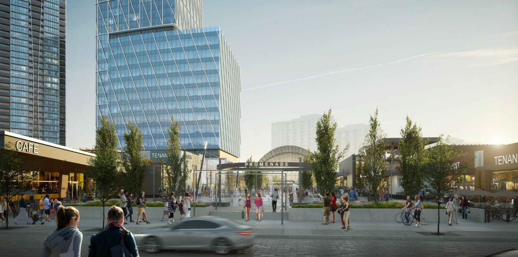 Exterior rendering of Promenade Park Towers revitalized Promenade Mall at dusk.
