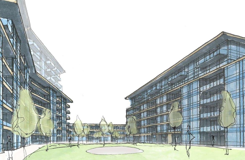 Sketch of 1345 Lakeshore Road Condos courtyard.